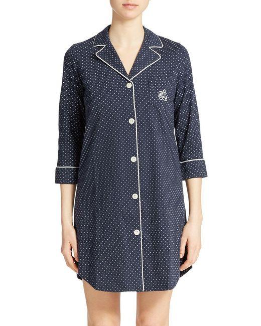 Lauren by Ralph Lauren - Blue Plus Printed Sleepshirt - Lyst