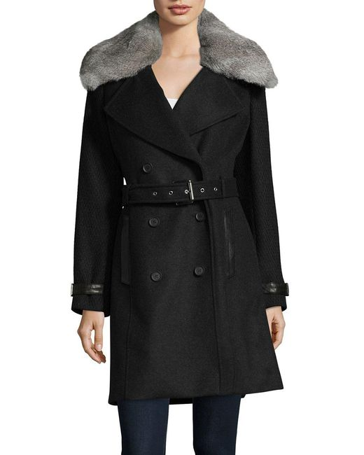 Andrew Marc - Black Trench Coat With Detachable Fur Collar - Lyst