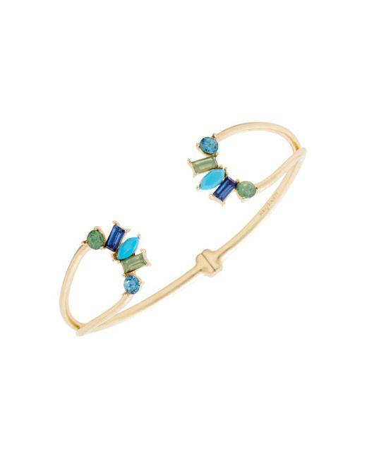 Sole Society - Metallic Multicolored Crystal Hinged Cuff Bracelet - Lyst