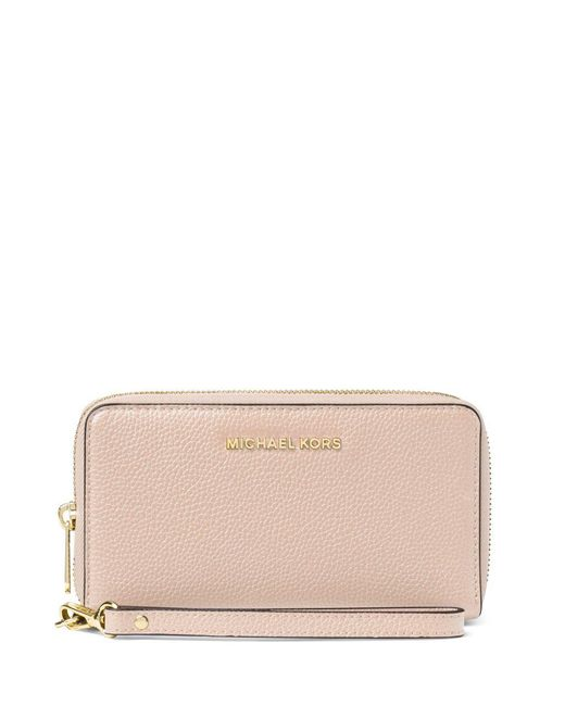 MICHAEL Michael Kors - Pink Large Leather Zip-around Phone Wallet - Lyst