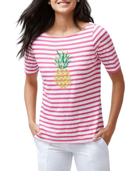 Tommy Bahama - Pink Embroidered Pineapple Top - Lyst