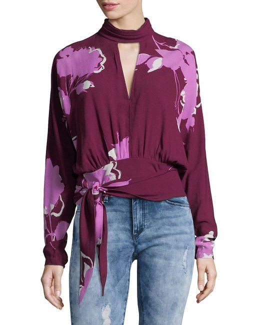 Free People - Purple Tie Around Floral Bouse - Lyst