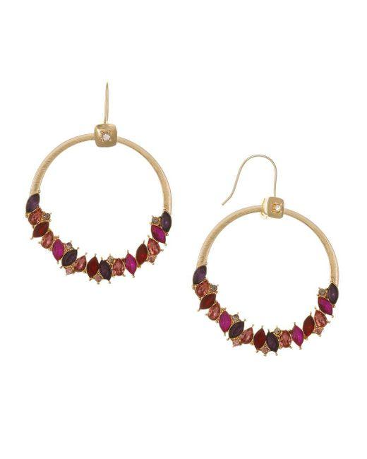 Laundry by Shelli Segal - Metallic Sierra Shades Goldtone & Multicolored Crystal Frontal Hoop Earrings - Lyst