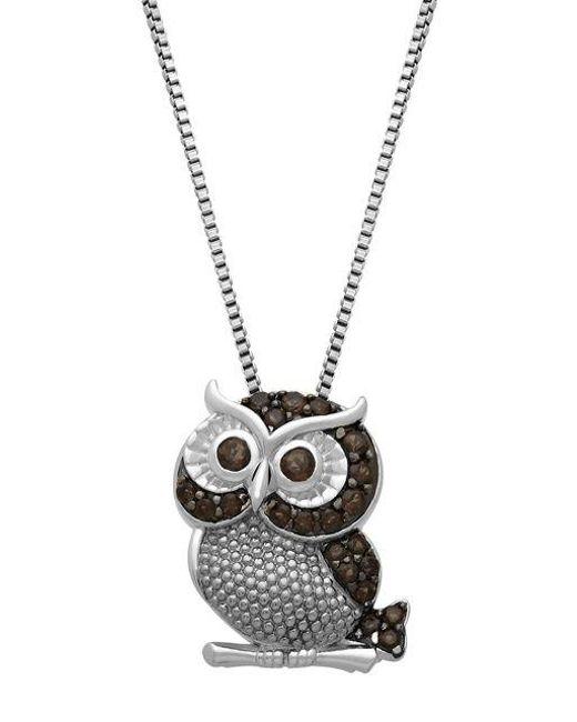 Lord & Taylor - Metallic Sterling Silver Smokey Quartz Owl Pendant Necklace - Lyst