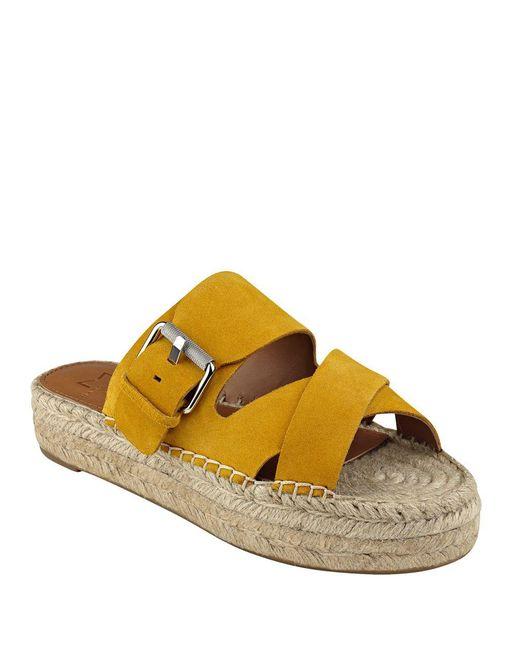 Marc Fisher | Yellow Venita Suede Espadrille Slide Sandals | Lyst