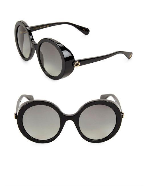 Gucci - Black 52mm Round Sunglasses - Lyst