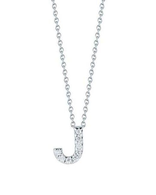 Roberto Coin - Metallic Tiny Treasures Diamond & 18k White Gold Love Letter Initial Pendant Necklace - Lyst