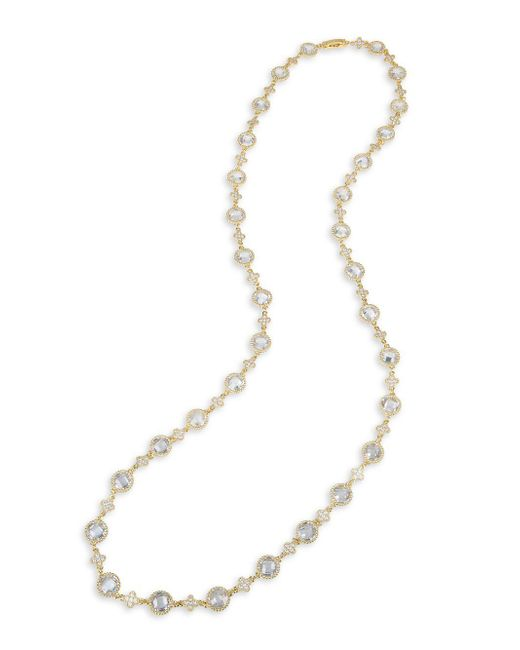 CZ by Kenneth Jay Lane - Metallic Goldplated And Cubic Zirconia Station Necklace - Lyst