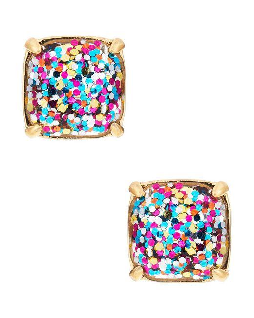 Kate Spade - Blue Small Square Glitter Stud Earrings - Lyst