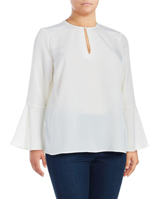 Seven7 - White Plus Keyhole Bell Sleeve Blouse - Lyst