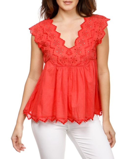 Lucky Brand - Red Sleeveless Laser-cut Cotton Tank Top - Lyst