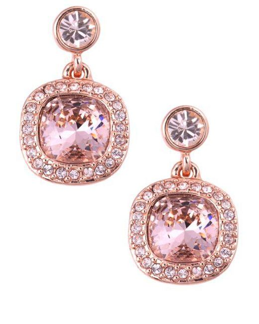 Givenchy Pink Rose Gold And Vintage Swarovski Crystal Drop Earrings Lyst