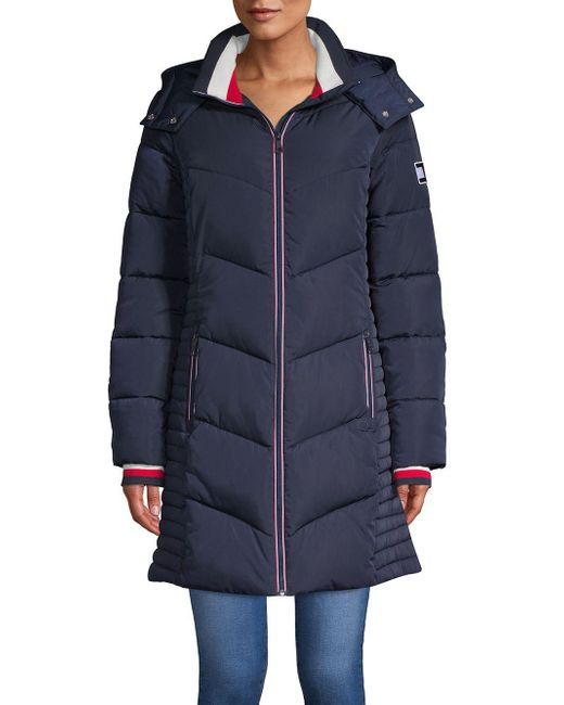 Tommy Hilfiger - Blue Long Chevron Quilted Puffer Coat - Lyst