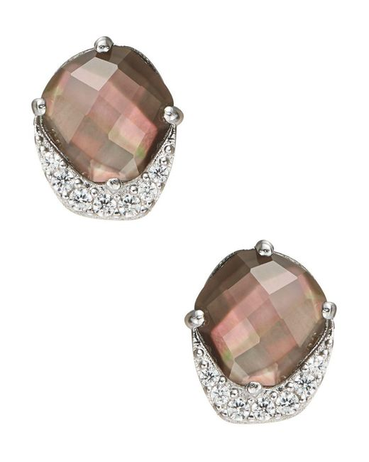 Nadri - Metallic Black Mother-of-pearl And Sterling Silver Abstract Stud Earrings - Lyst