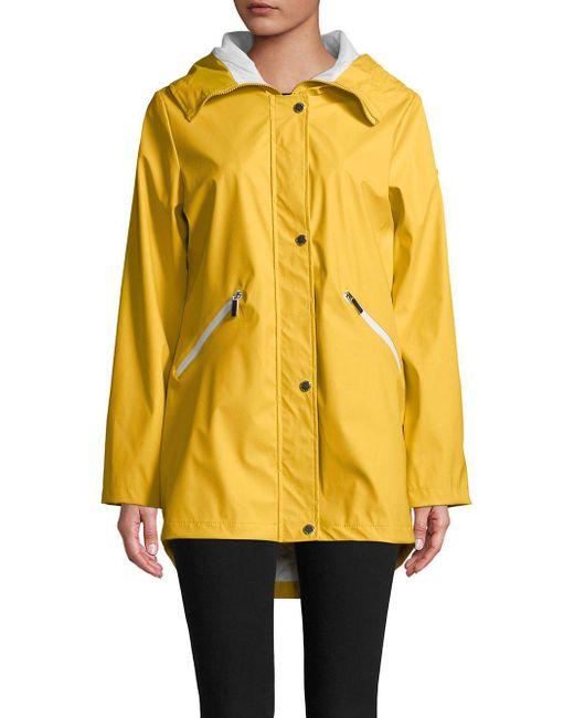 French Connection - Yellow Oversized Hi-lo Hem Raincoat - Lyst
