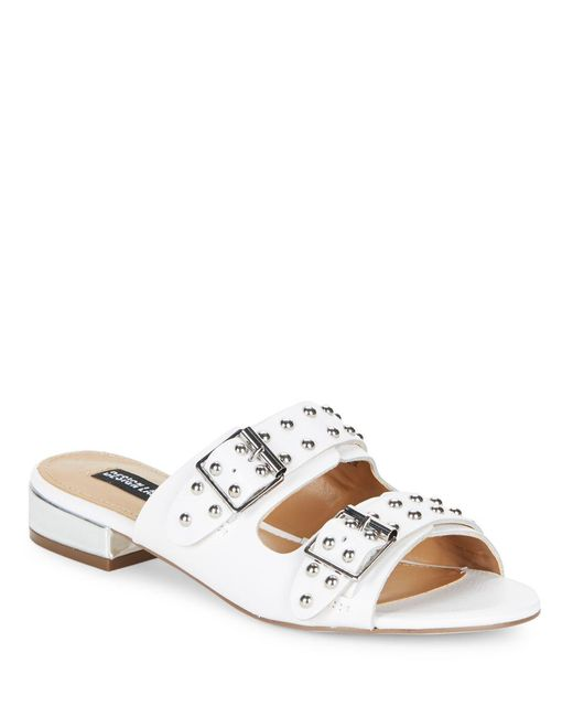 Lord & Taylor | White Punk Studded Slip-on Sandals | Lyst