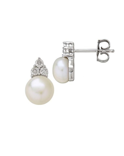 Lord & Taylor - Metallic 7mm White Button Freshwater Pearl And Diamond Sterling Silver Earrings - Lyst