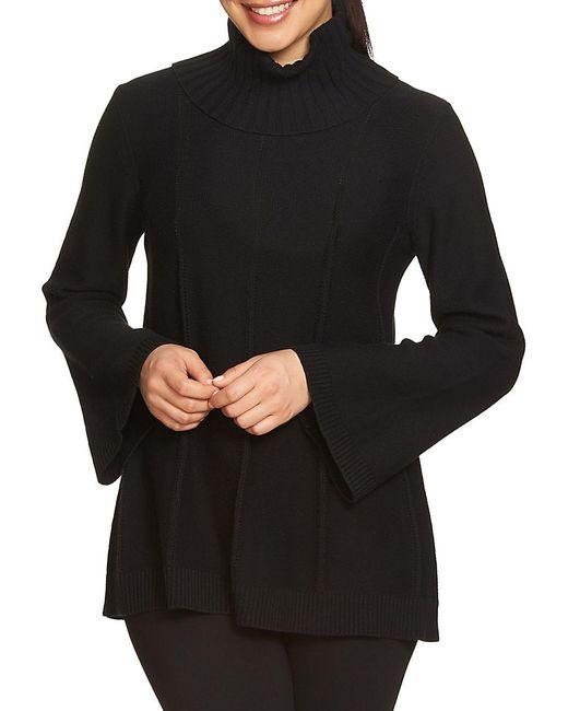Chaus - Black Cowlneck Pointelle Sweater - Lyst