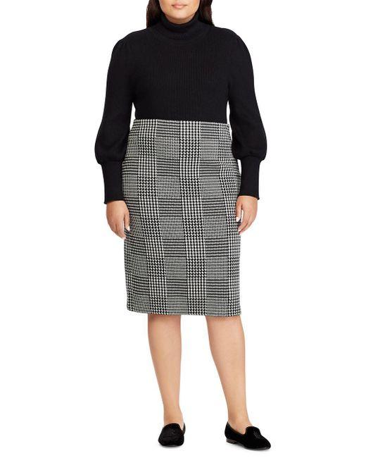 2c7ba888dcb ... Lauren by Ralph Lauren - Black Plus Ribbed Puff-sleeve Sweater - Lyst