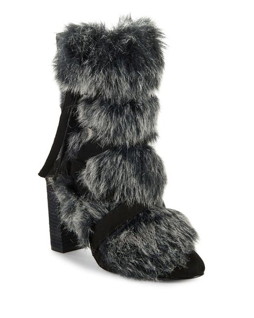Charles David - Black Alberta Faux Fur Belted Bootie - Lyst