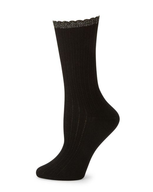 Hue | Black Scalloped Pointelle Socks | Lyst