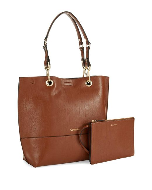 Calvin Klein - Brown Reversible Faux Leather Tote - Lyst