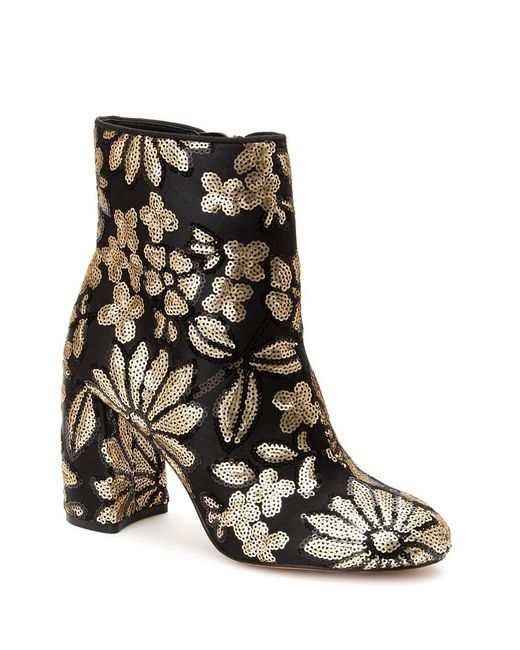 Nanette Nanette Lepore - Black Lilly Embroidered Textile Booties - Lyst