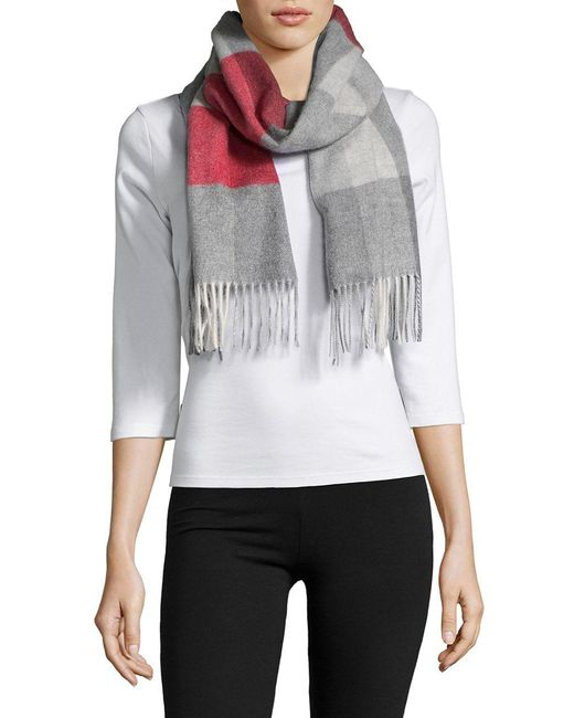 Lord & Taylor - Red Fringe Trim Cashmere Scarf - Lyst