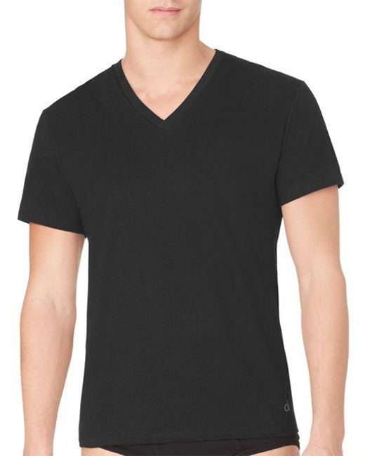 CALVIN KLEIN 205W39NYC - Black Three-pack Cotton Classic V-neck Tee for Men - Lyst