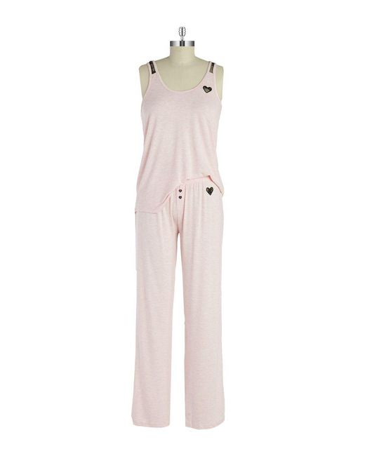 Betsey Johnson - Pink Tank & Pajama Set - Lyst