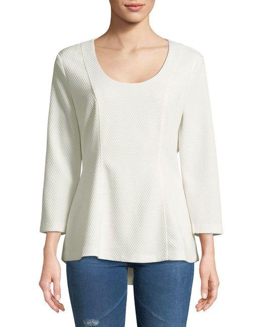 Isaac Mizrahi New York - White Quarter-sleeve Hi-lo Top - Lyst