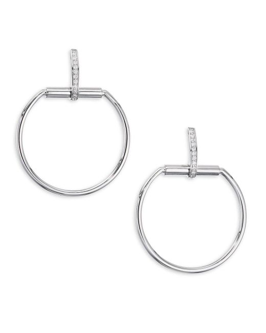 Roberto Coin - Metallic Classica Parisienne Diamond And 18k White Gold Earrings - Lyst