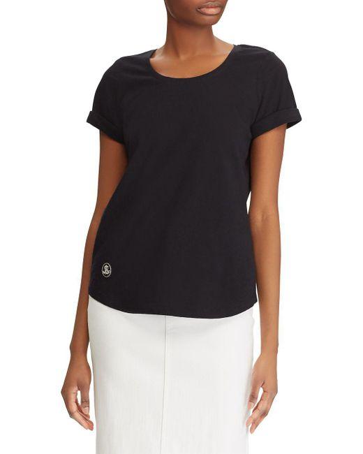 Lauren by Ralph Lauren - Black Logo Patch Cotton Tee - Lyst