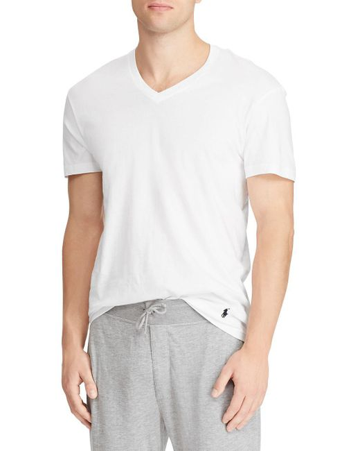 04c0222a94f74 Lyst - Polo Ralph Lauren Tall Pack Of Two V-neck T-shirts in White ...