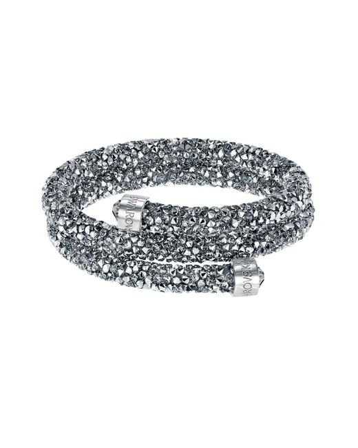 Swarovski - Metallic Silver-tone Dark-hued Crystaldust Wrap Bracelet - Lyst