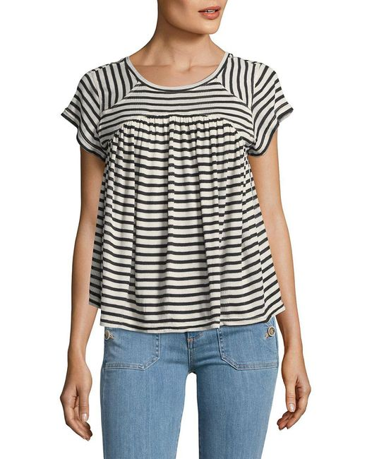Free People - White Linear A-line Tee - Lyst