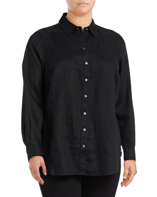 Lord & Taylor | Black Linen Button-down Shirt for Men | Lyst