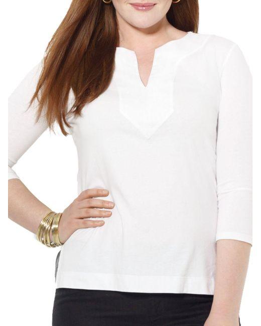 Lauren by Ralph Lauren | White Plus Cotton Tunic | Lyst