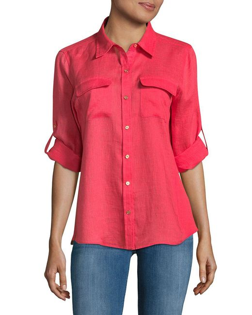 CALVIN KLEIN 205W39NYC - Red Linen Roll Sleeve Blouse - Lyst