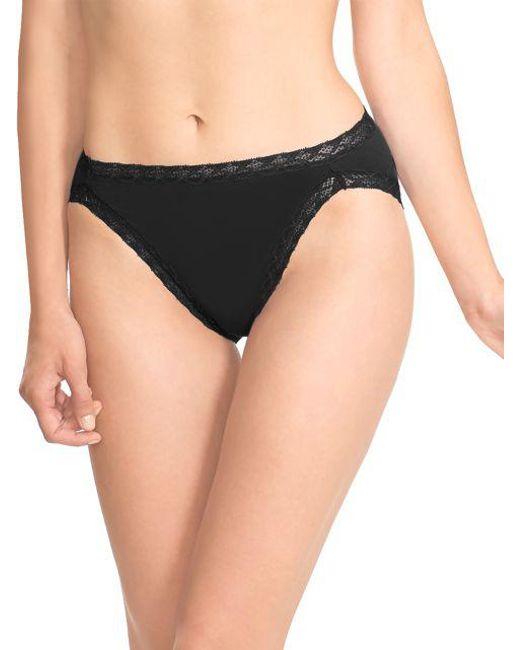 Natori | Black Bliss Cotton French-cut Bikini | Lyst
