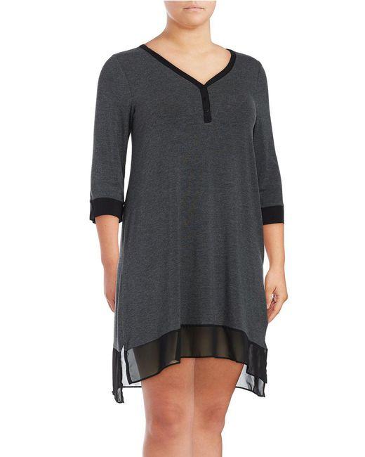 DKNY | Gray Lace Hem Dress | Lyst