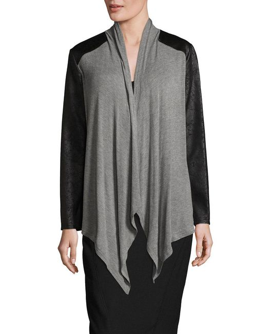 Jones New York - Gray Drape Cardigan - Lyst
