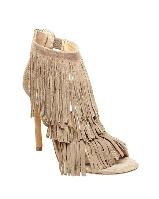 Steve Madden - Natural Fringly Suede High-heel Sandals - Lyst