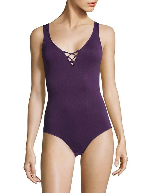 Lord & Taylor - Purple Seamlessly Shaped Bodysuit - Lyst