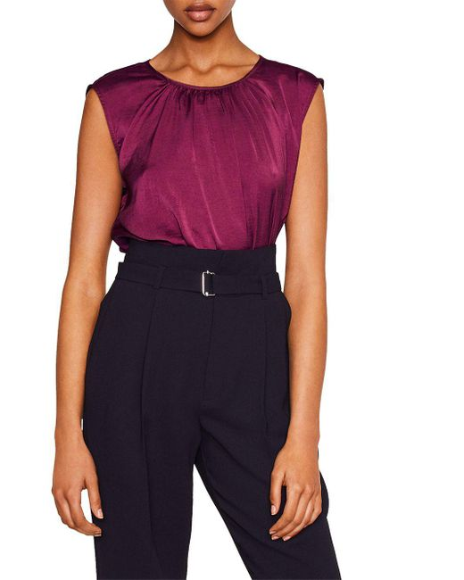 Mango - Purple Molly Ruched Neck Blouse - Lyst