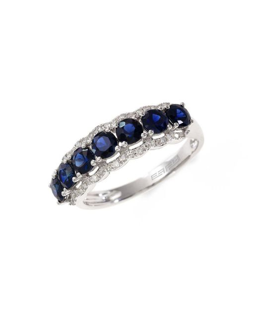 Effy - Multicolor Royale Bleu 14k White Gold Sapphire And Diamond Ring - Lyst