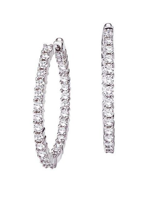 Lyst Roberto Coin Diamond And 18k White Gold Hoop Earrings In White