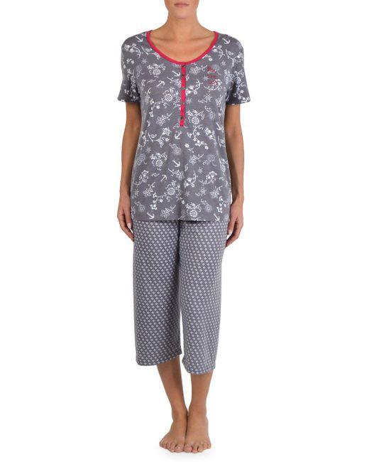 Claudel - Gray Printed Capri Pajamas - Lyst