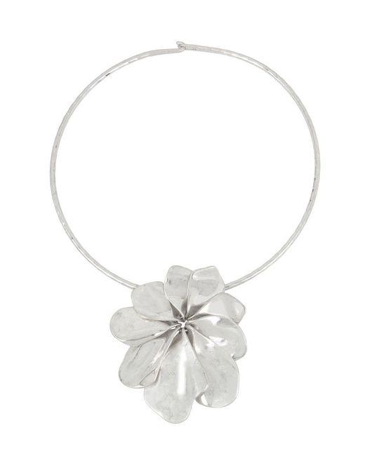 Robert Lee Morris - Metallic Sculptural Flower Pendant Wire Collar Necklace - Lyst