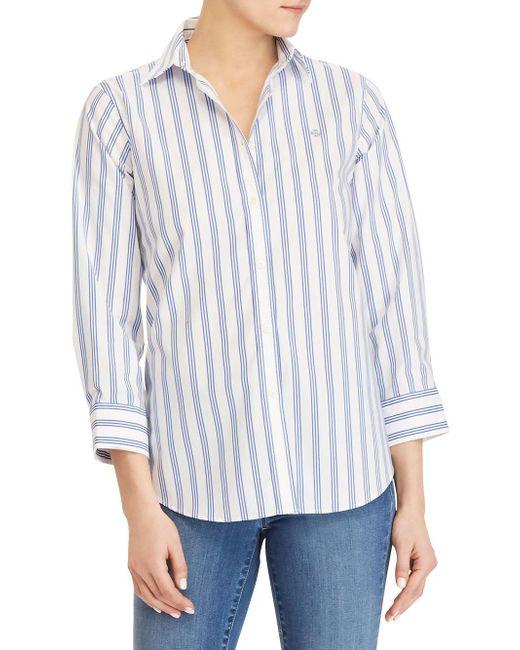 Lauren by Ralph Lauren - White Non-iron Stretch-cotton Button-down Shirt - Lyst